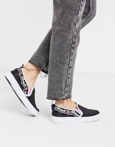 Черные кроссовки-слипоны с логотипом Ellesse-Черный