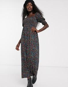 Черное платье макси с присборенным топом и цветочным принтом ASOS DESIGN-Мульти