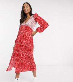 Красно-белое плиссированное платье миди в горошек ASOS DESIGN Maternity-Мульти