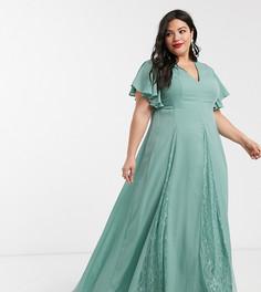 Платье макси с кружевными вставками ASOS DESIGN Curve-Зеленый