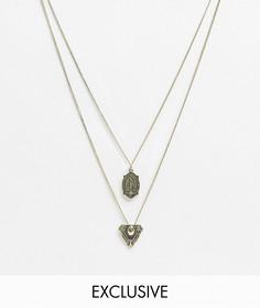 Ярусное ожерелье с подвесками Reclaimed Vintage Inspired-Серебряный