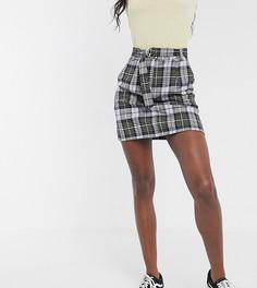 Желтая мини-юбка в клетку с D-образной пряжкой на поясе Brave Soul Tall-Мульти