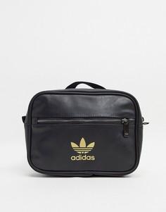Черный прямоугольный мини‑рюкзак с логотипом в виде трилистника adidas Originals