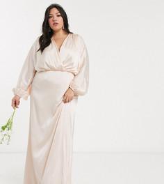 Светло-бежевое сатиновое платье макси с длинными рукавами TFNC Plus Вridesmaids-Кремовый