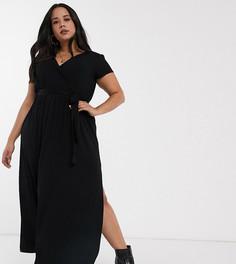 Черное платье макси с запахом и поясом ASOS DESIGN Curve-Черный