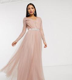Платье макси с кружевными рукавами и отделкой из тюля ASOS DESIGN Tall-Розовый