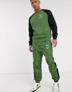Джоггеры цвета хаки с манжетами и логотипом-галочкой Nike-Зеленый