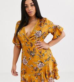 Платье мини с цветочным принтом и оборками Pretty Darling Plus-Мульти
