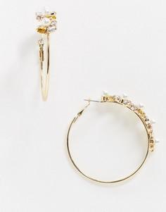 Золотистые серьги-кольца с камнями River Island-Золотой