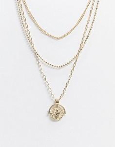 Ярусное ожерелье ASOS DESIGN-Золотой
