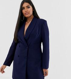 Двубортное платье-блейзер мини Club L London Plus-Темно-синий