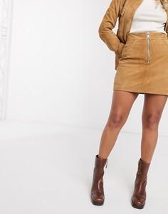 Светло-коричневая замшевая мини-юбка Leather-Светло-коричневый