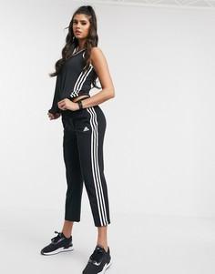 Черные брюки до щиколотки с 3 полосками adidas Training-Черный