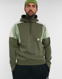Худи цвета хаки в стиле колор блок с логотипом Nike-Зеленый