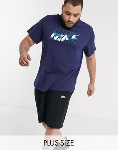 Темно-синяя футболка с камуфляжным принтом Nike Training Plus-Темно-синий