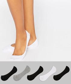 Набор из 5 пар невидимых носков ASOS DESIGN-Мульти