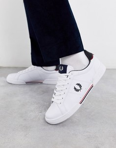 Белые кожаные кроссовки Fred Perry B722-Белый