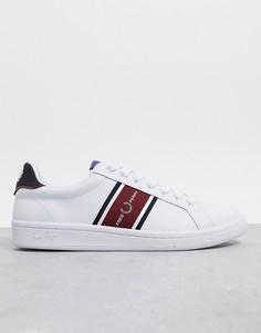 Белые кожаные кроссовки со вставками Fred Perry B721-Белый