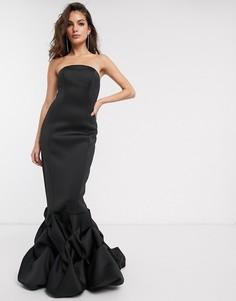 Платье макси с вырезом бандо ASOS DESIGN-Черный