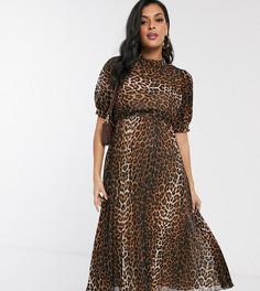 Платье миди с пышными рукавами, леопардовым принтом и плиссированной юбкой ASOS DESIGN Maternity-Мульти