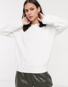 Белый джемпер с пышными рукавами на манжетах Selected Femme