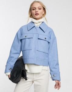 Голубая куртка с добавлением шерсти и карманами Selected Femme-Синий