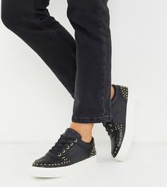 Черные кроссовки с заклепками Simply Be extra wide fit-Черный
