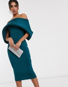 Платье-карандаш миди с открытыми плечами ASOS DESIGN-Синий