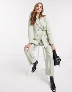 Светло-зеленый двубортный пиджак от комплекта Topshop