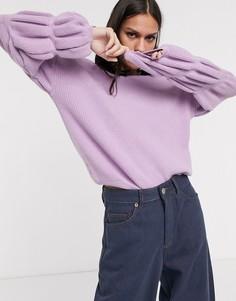 Лавандовый свитер с отделкой на рукавах Selected Femme-Фиолетовый