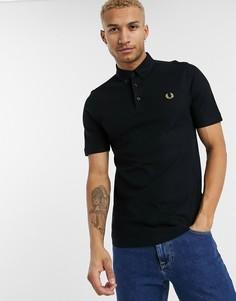 Черная футболка-поло с воротником на пуговицах Fred Perry-Черный