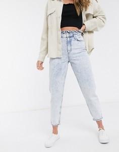 Светлые джинсы из мраморного денима в винтажном стиле Miss Selfridge-Синий