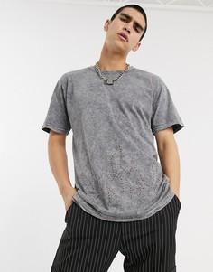 Серая футболка с эффектом кислотной стирки и контуром пламени из стразов Milk It Vintage-Черный