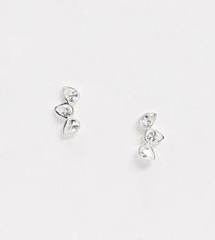 Эксклюзивные серебряные серьги-клаймберы со стразами Kingsley Ryan-Серебряный