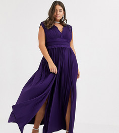 Плиссированное премиум-платье макси с кружевной отделкой ASOS DESIGN Curve-Фиолетовый