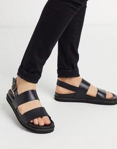 Черные кожаные сандалии Walk London-Черный