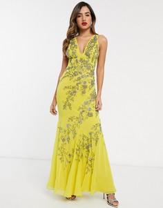 Шифоновое платье макси с цветочным декором ASOS DESIGN-Желтый