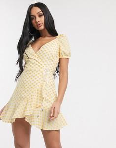 Платье мини с запахом и вышивкой Significant Other-Желтый