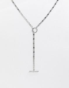 Серебристая цепочка с крупными звеньями и Т-образным дизайном ASOS DESIGN-Серебряный