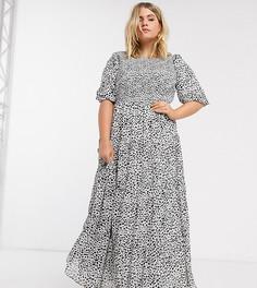 Присборенное ярусное платье макси в горошек ASOS DESIGN Curve-Мульти