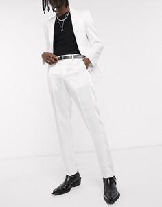 Блестящие белые брюки скинни под смокинг ASOS DESIGN-Белый