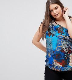 Блузка на одно плечо с оборками и принтом пейсли Lovedrobe-Мульти