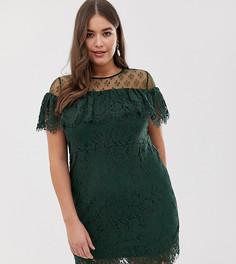 Кружевное платье с открытыми плечами Lovedrobe-Зеленый