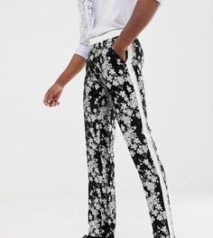 Узкие жаккардовые брюки под смокинг с монохромной цветочной отделкой ASOS EDITION Tall-Черный