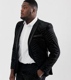 Черный бархатный приталенный пиджак-смокинг с тигровым узором ASOS DESIGN Plus