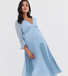 Плиссированное платье миди с глубоким вырезом и кружевной вставкой ASOS DESIGN Maternity-Синий