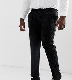 Черные бархатные брюки скинни под смокинг с блестками ASOS DESIGN Plus-Черный