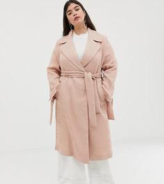 Фактурное пальто ASOS DESIGN Curve-Розовый