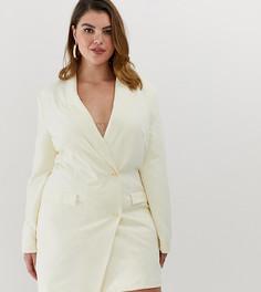 Платье-блейзер с золотистыми пуговицами Unique21 Hero-Кремовый