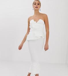 Платье миди с искусственными перьями и баской ASOS DESIGN Tall PREMIUM-Белый